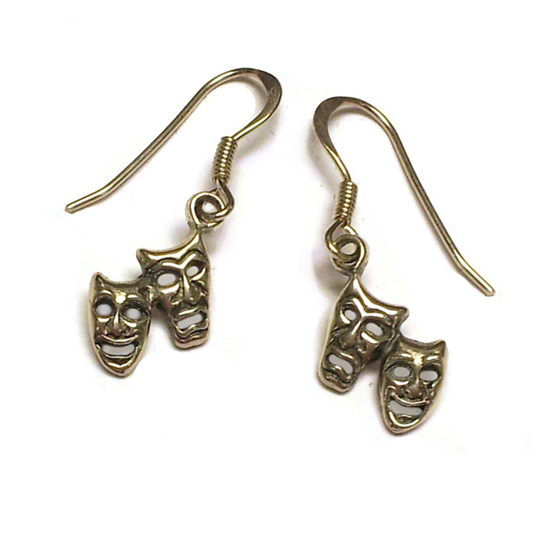 Comedy Tragedy Miniature Masks Sterling Silver Earrings